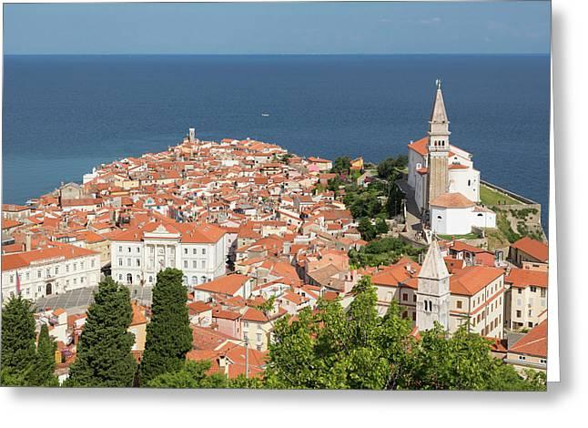 Piran, Primorska, Slovenia. Overeall Greeting Card