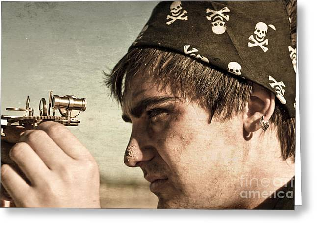 Pirate And Compass Greeting Card by Jorgo Photography - Wall Art Gallery