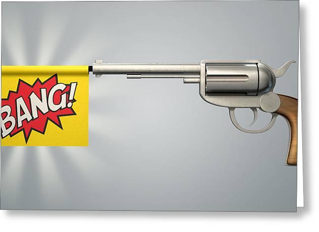 Pistol Bang Flag Greeting Card by Allan Swart