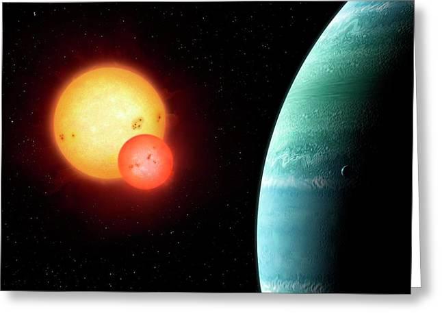 Planet Around Binary Star Kepler-453 Greeting Card by Mark Garlick
