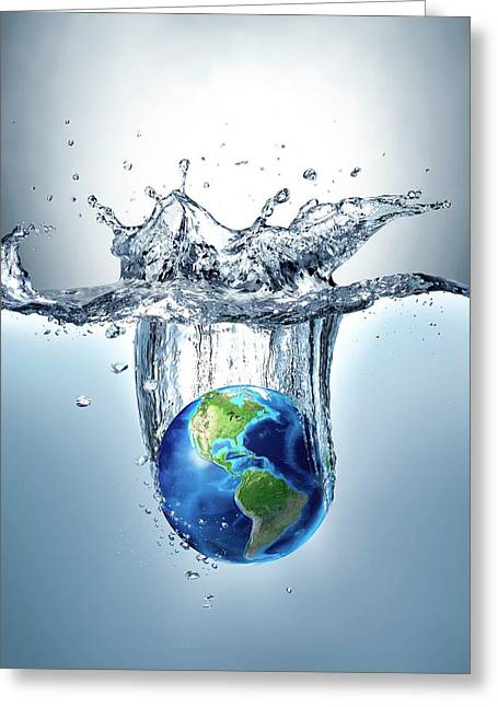 Planet Earth Splashing Into Water Greeting Card by Leonello Calvetti