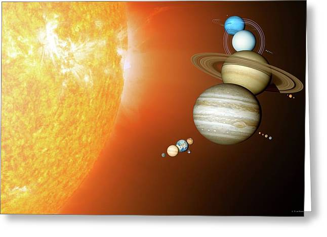 Planets Size Comparison Greeting Card by Detlev Van Ravenswaay