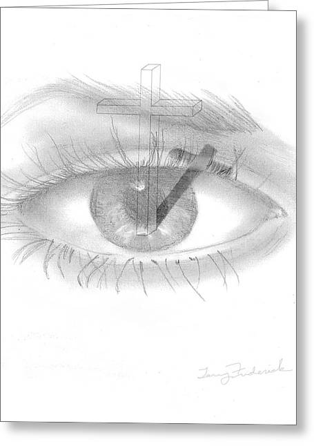 Greeting Card featuring the drawing Plank In Eye by Terry Frederick
