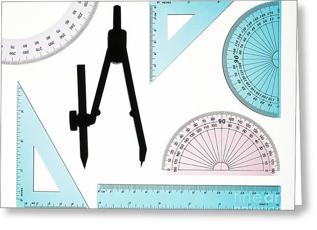 Plastic Instruments Used In Geometry Greeting Card by Lawrence Lawry