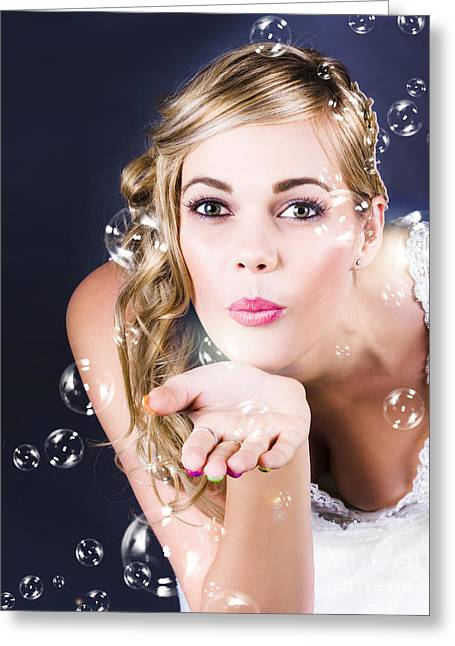 Playful Bride Blowing Bubbles At Wedding Reception Greeting Card