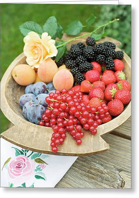 Plums, Apricots And Berries In Wooden Bowl Greeting Card