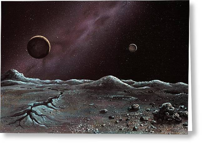 Pluto And Charon From Styx Greeting Card by Richard Bizley