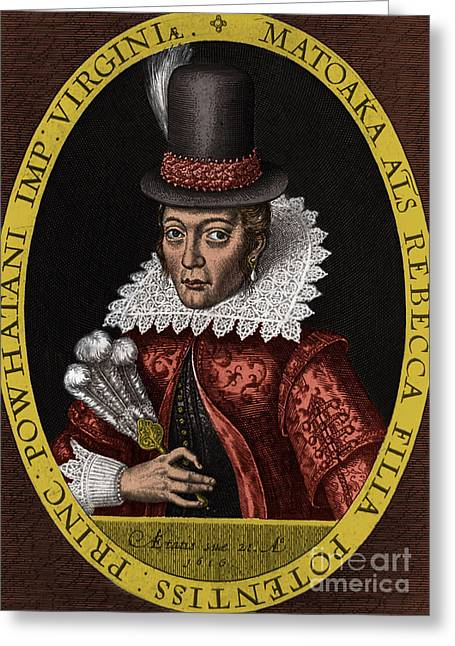 Pocahontas, 1616 Greeting Card by Photo Researchers