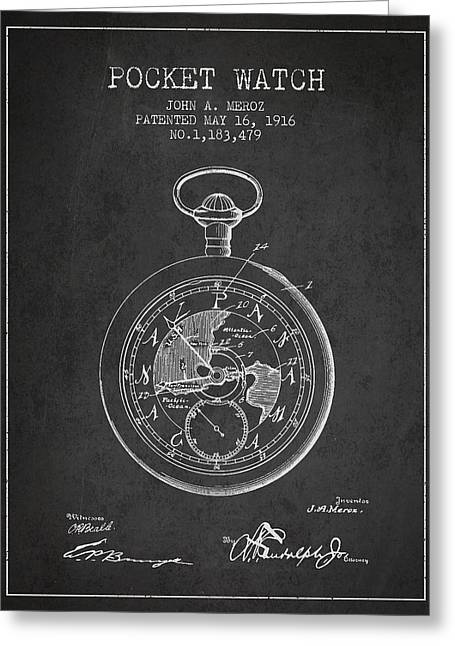 Pocket Watch Patent From 1916 Greeting Card