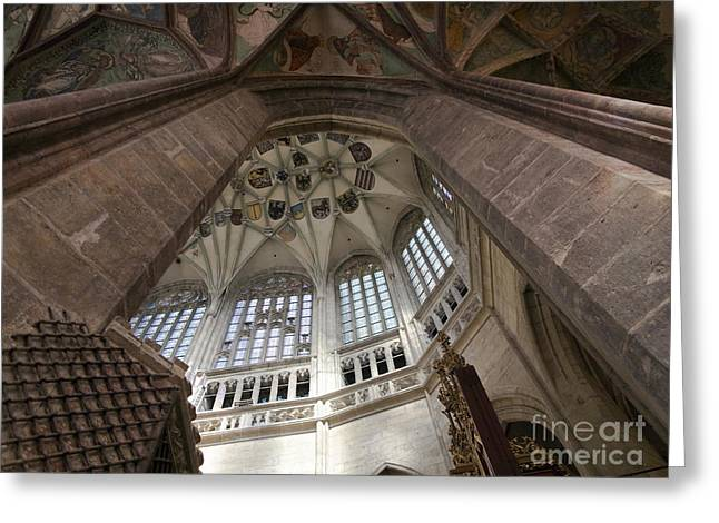 pointed vault of Saint Barbara church Greeting Card by Michal Boubin