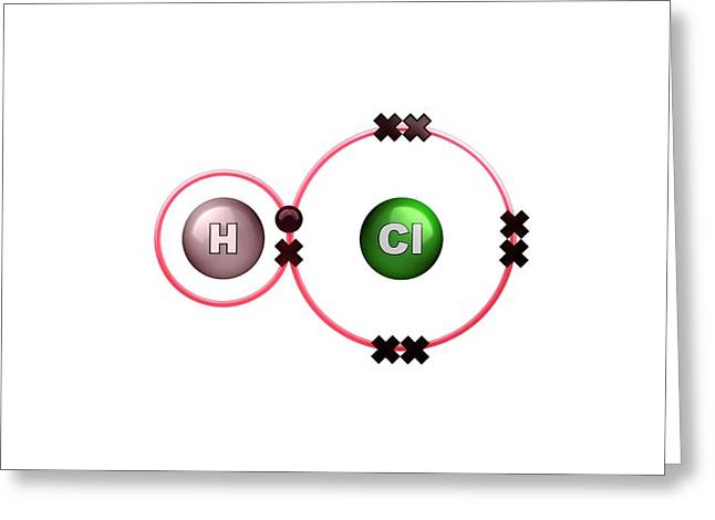 Polar Bond In Hydrogen Chloride Molecule Greeting Card