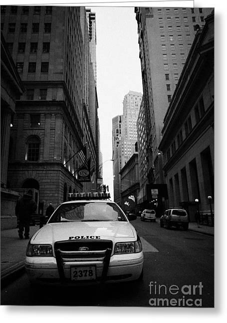 Police Squad Car On Wall Street New York City Greeting Card by Joe Fox