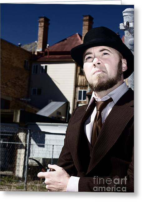 Pondering Detective Greeting Card by Jorgo Photography - Wall Art Gallery