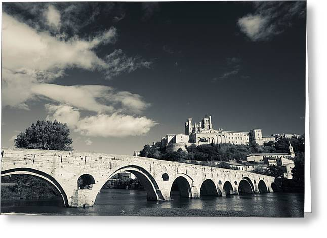 Pont Vieux Bridge With Cathedrale Greeting Card by Panoramic Images