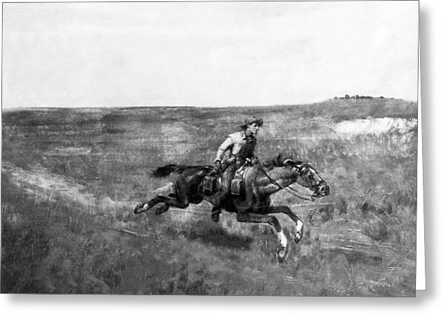 Pony Express Rider Greeting Card by Underwood Archives