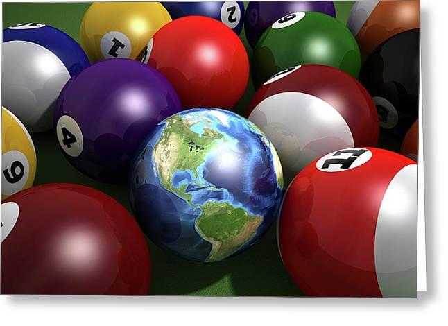 Pool Balls And The Globe Greeting Card