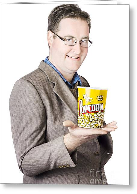 Popcorn Bucket On Businessman's Hand Greeting Card by Jorgo Photography - Wall Art Gallery