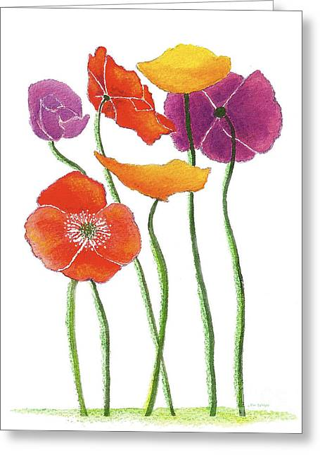 Greeting Card featuring the painting Poppies A Plenty by Nan Wright