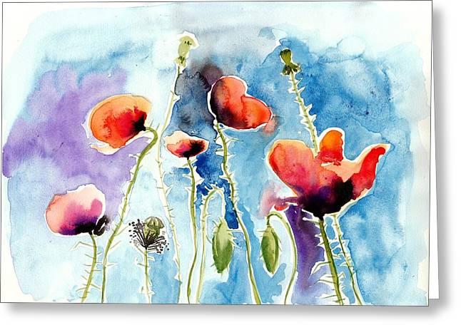 Poppies Field Poppy Watercolor Greeting Card
