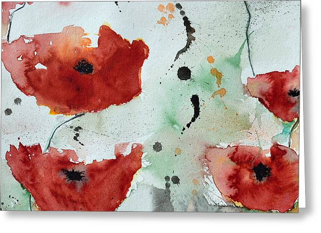 Poppies Flower- Painting Greeting Card by Ismeta Gruenwald