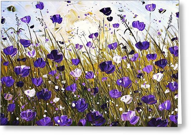 Poppis In Purple Greeting Card by Jolina Anthony