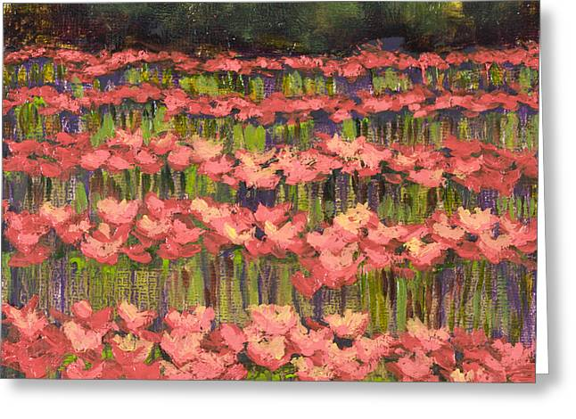 Poppy Field With Gold Leaf By Vic Mastis Greeting Card