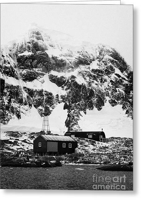 Port Lockroy British Antarctic Heritage Trust Station On Goudier Island With Luigi Peak In The Backg Greeting Card by Joe Fox