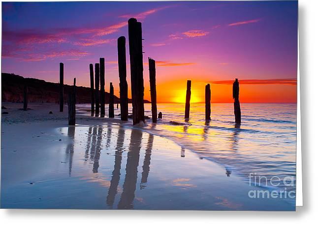 Port Willunga Sunset Greeting Card by Bill  Robinson