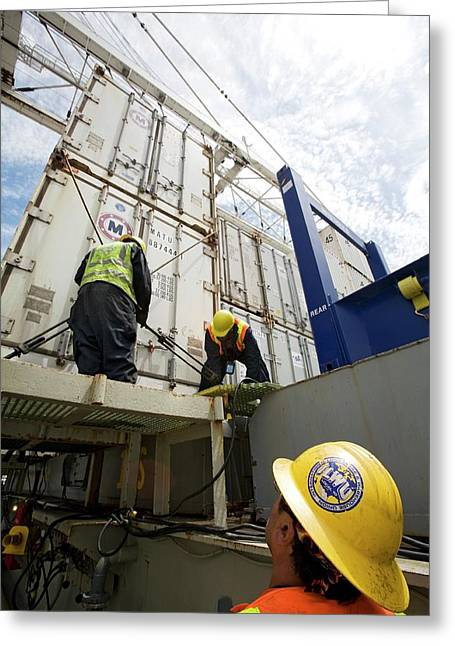 Port Workers Handling Cargo Containers Greeting Card