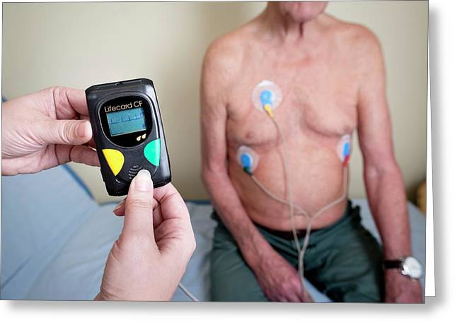 Portable Ecg Monitor Being Fitted Greeting Card
