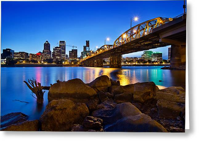 Greeting Card featuring the photograph Portland Oregon Skyline At Blue Hour by JPLDesigns