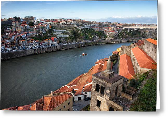 Porto And Vila Nova De Gaia Cityscape Greeting Card by Artur Bogacki