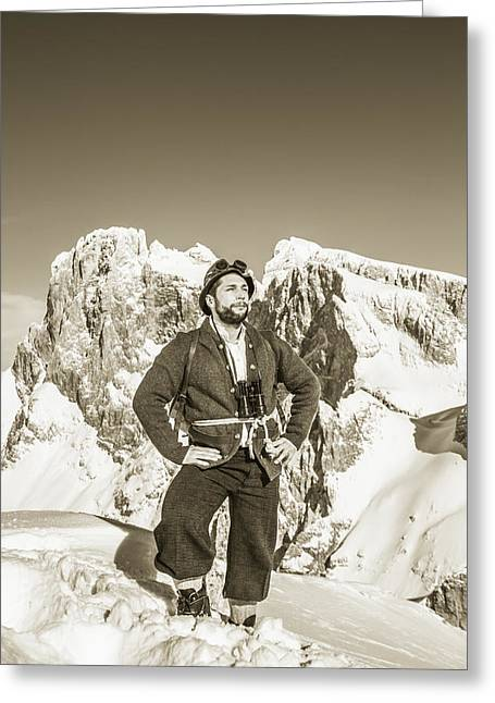 Portrait Of A Bearded Man In Old Nostalgic Skiing Outfit Greeting Card by Leander Nardin