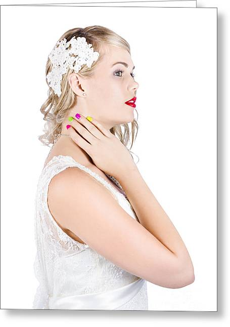 Portrait Of A Beautiful Bride Greeting Card by Jorgo Photography - Wall Art Gallery
