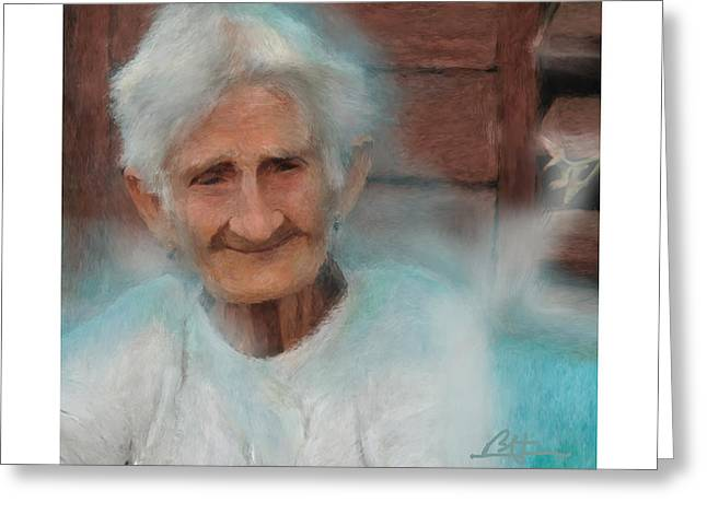Greeting Card featuring the painting Portrait Of A Cuban Granny by Bob Salo
