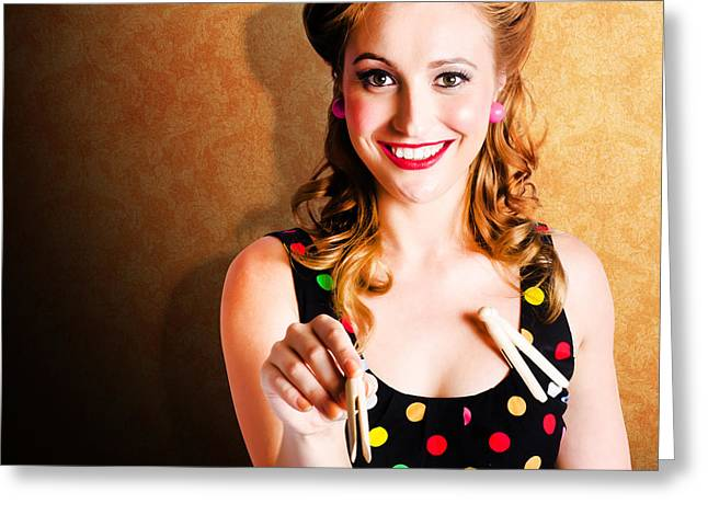 Portrait Of A Happy Pin Up Cleaning Woman Greeting Card