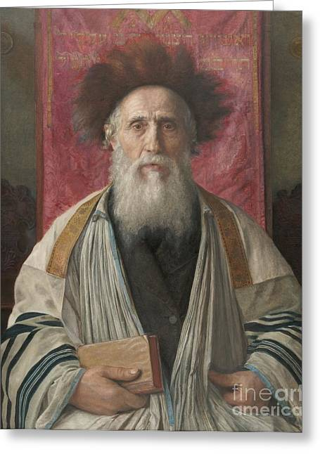 Portrait Of A Rabbi Greeting Card by Celestial Images