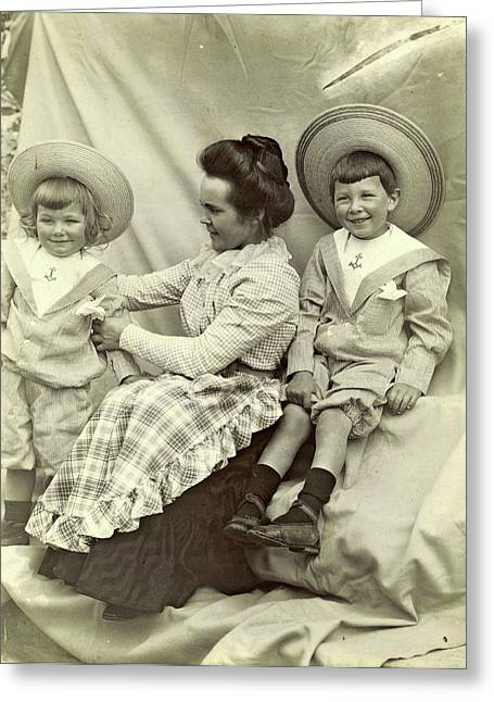 Portrait Of A Woman With Two Children With Sun Hats Greeting Card