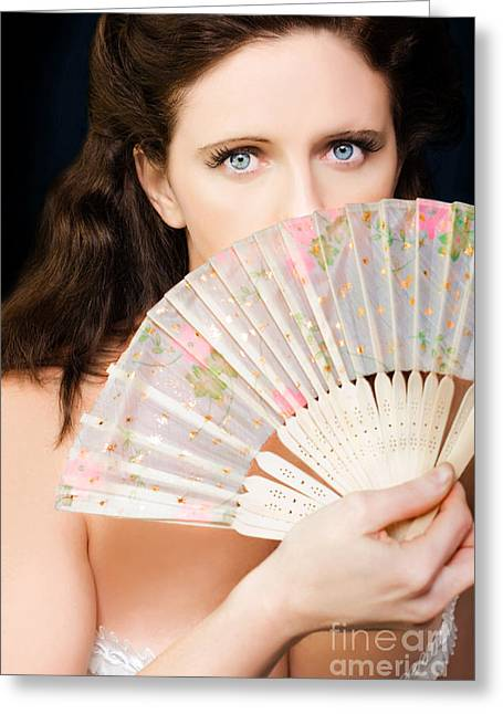 Portrait Of Beautiful Young Dancing Girl With Fan Greeting Card by Jorgo Photography - Wall Art Gallery