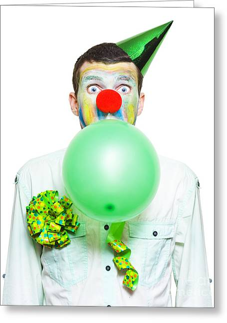 Portrait Of Birthday Clown Preparing To Party Greeting Card by Jorgo Photography - Wall Art Gallery