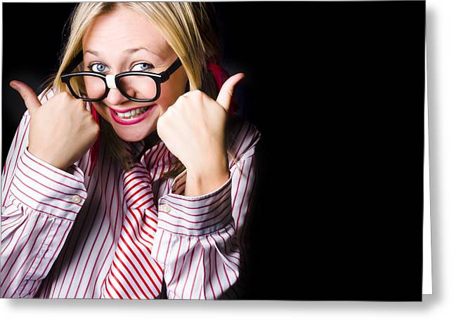 Portrait Of Businesswoman Gesturing Good To Go Greeting Card by Jorgo Photography - Wall Art Gallery