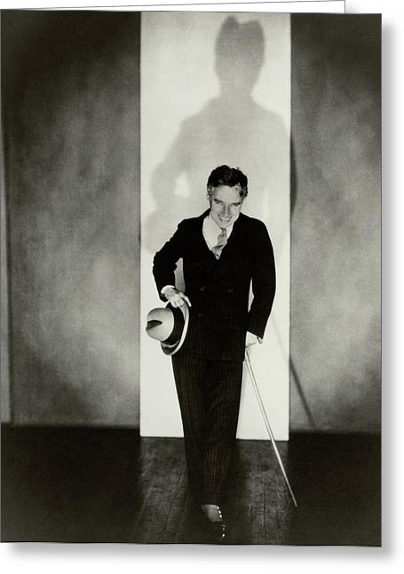 Portrait Of Charlie Chaplin Greeting Card by Edward Steichen