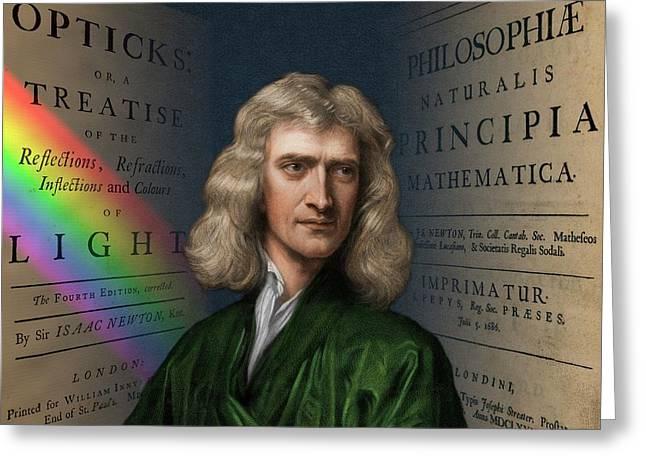 Portrait Of Isaac Newton Greeting Card by David Parker