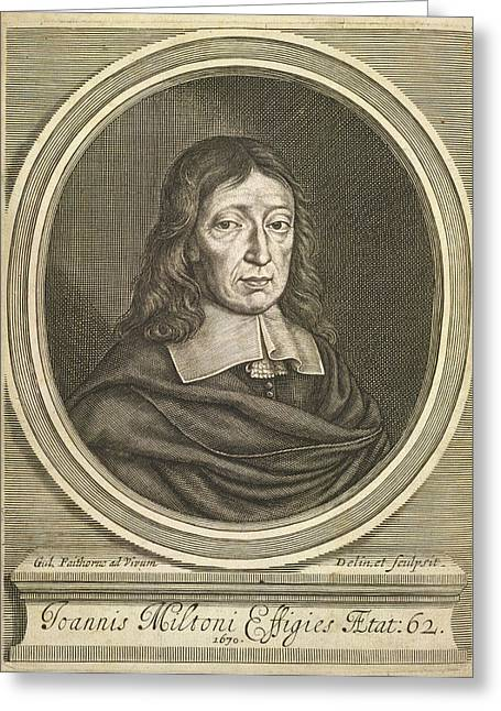 Portrait Of John Milton. Greeting Card by British Library
