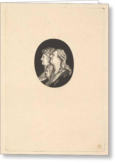 Portrait Of Louis Xvi, Marie Antoinette Greeting Card by Augustin de Saint-Aubin