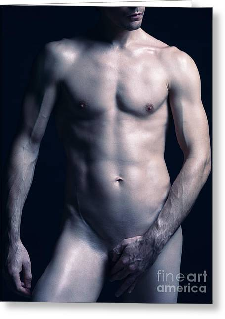 Portrait Of Man With Fit Naked Body Greeting Card by Oleksiy Maksymenko