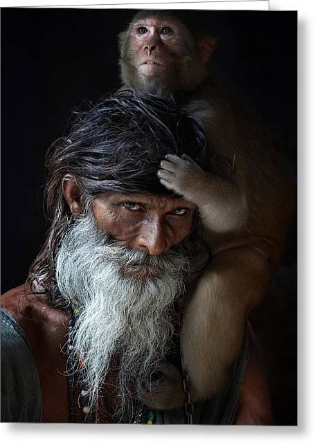 Portrait Of Sadhu Greeting Card by Gilles Lougassi
