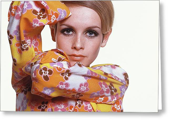 Portrait Of Twiggy Greeting Card by Bert Stern