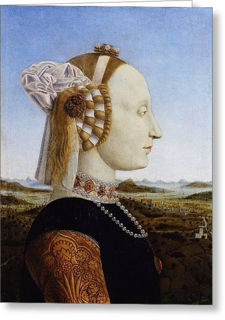 Portraits Of The Duke And Duchess Of Urbino Greeting Card by Piero della Francesca
