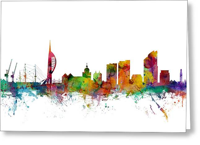 Portsmouth England Skyline Greeting Card by Michael Tompsett
